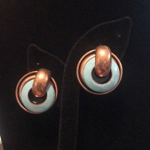 Matisse enameled copper clip on earrings